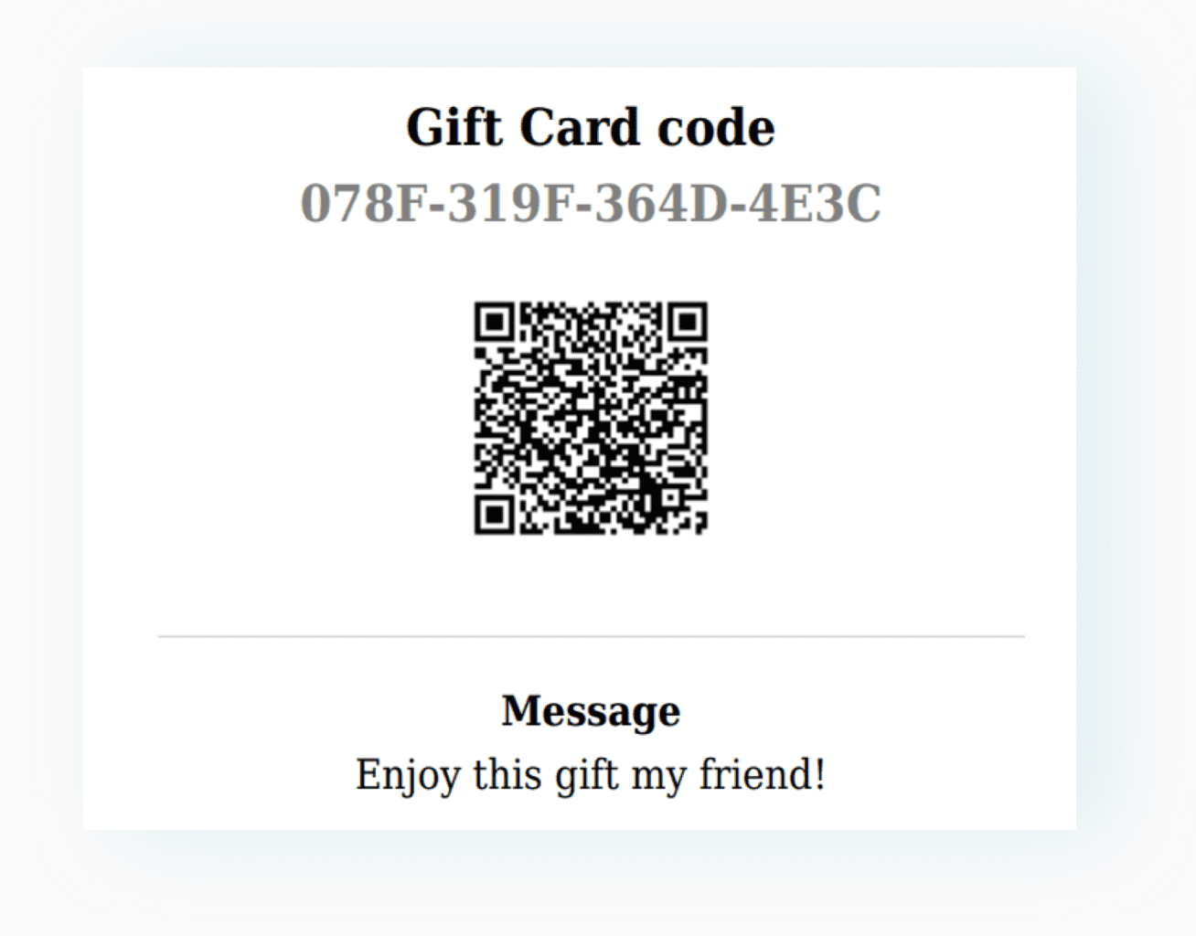 ADD A QR CODE FOR YOUR GIFT CARDS