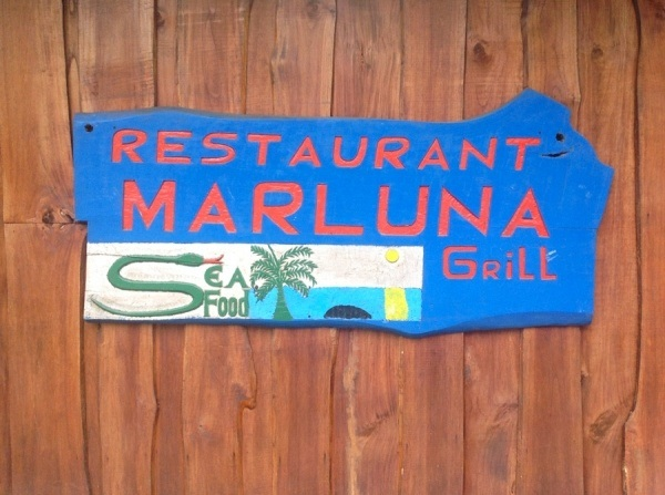 Mar Luna Restaurante - Seafood Bar & Grill - Original Sign Painted by Juan the owner