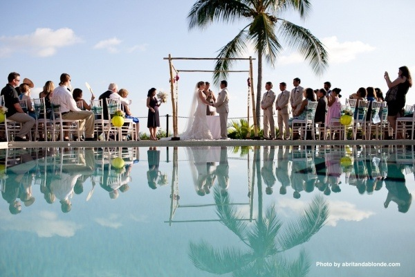 Poolside ceremonies above the Pacific Ocean