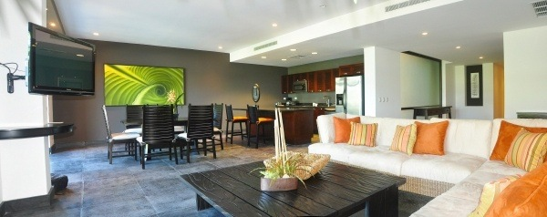 The Preserve at Los Altos - Living room with full kitchen